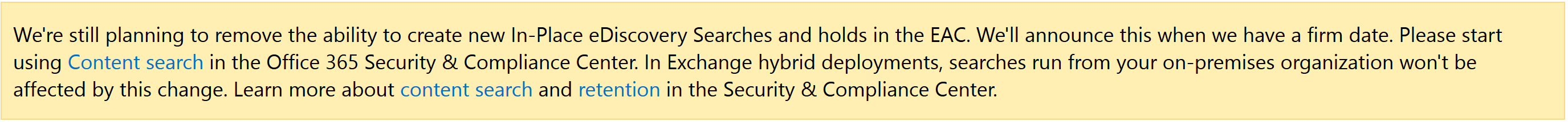 Migrating from Exchange Online eDiscovery and In-Place Hold to the Security & Compliance Center