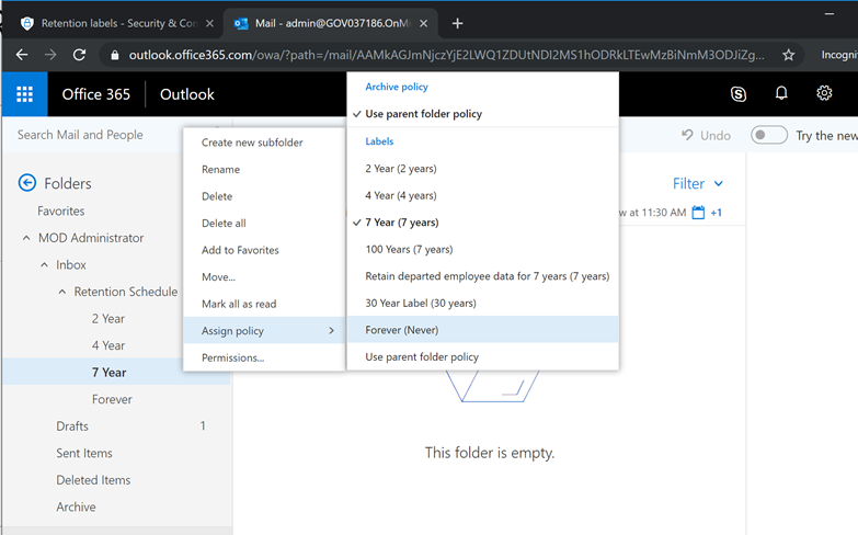 Apply Security & Compliance Center Retention Labels to Outlook Folders