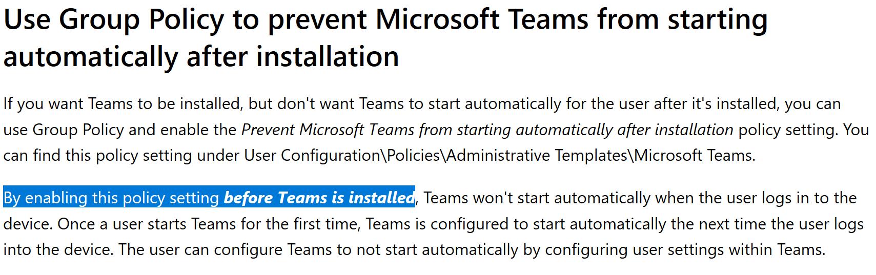 Disabling Teams AutoStart