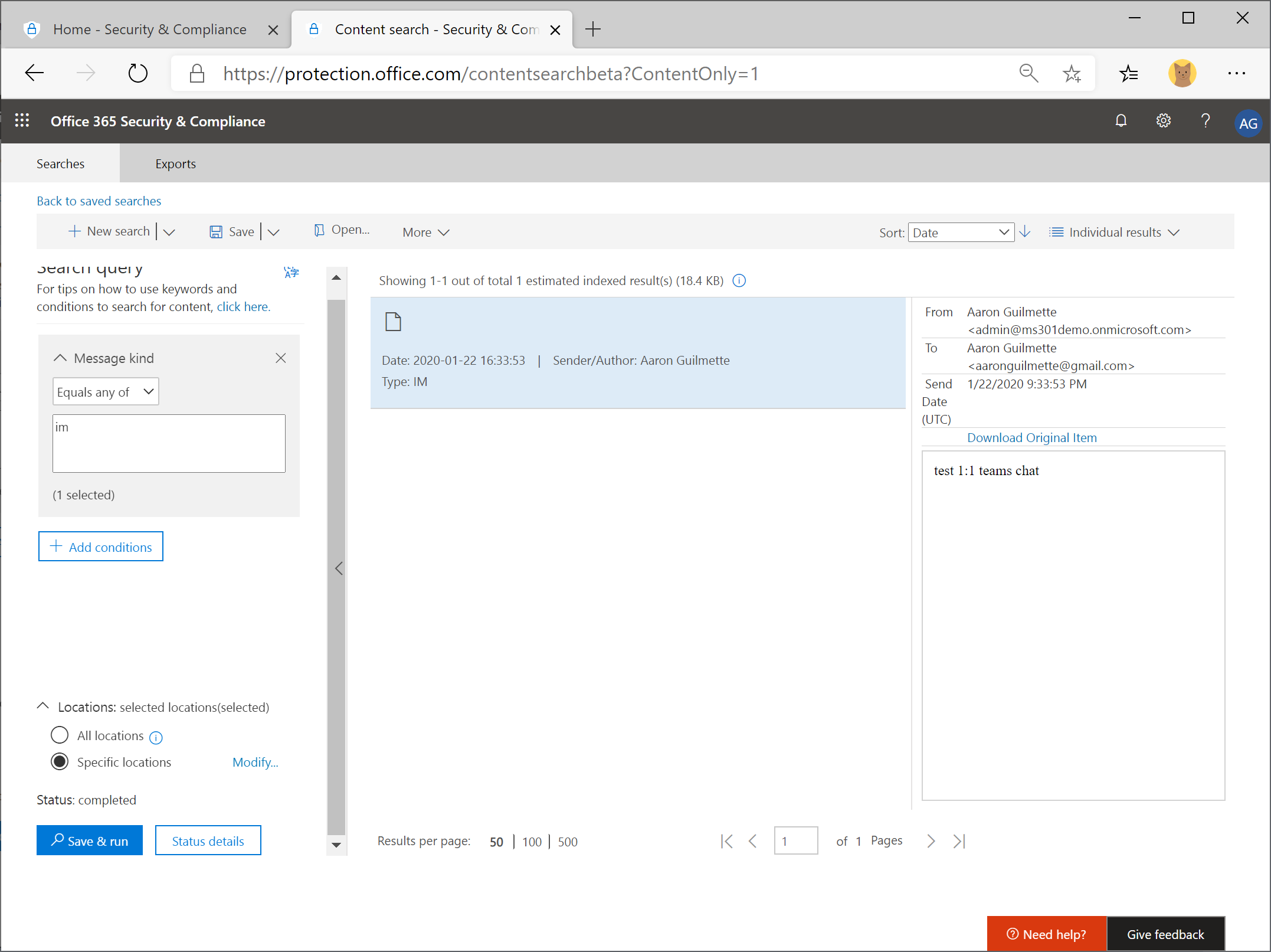 Office 365 Security & Compliance Center eDiscovery - Part 2: Condition Cards: Sender, Recipients, & Participants and Content Types