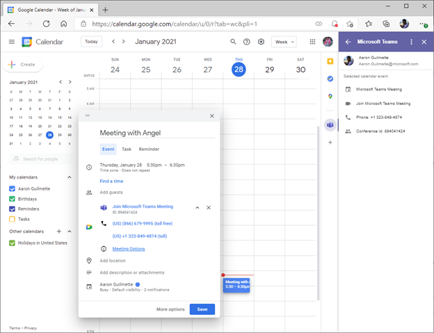 Configure Teams to Co-exist with Google G Suite