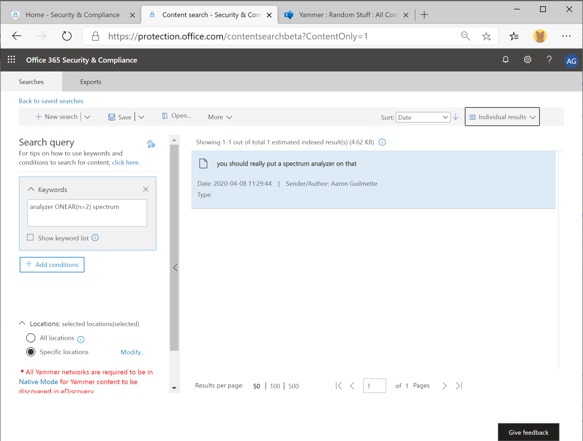 Office 365 Security & Compliance Center eDiscovery - Part 4: Learning NEAR and ONEAR