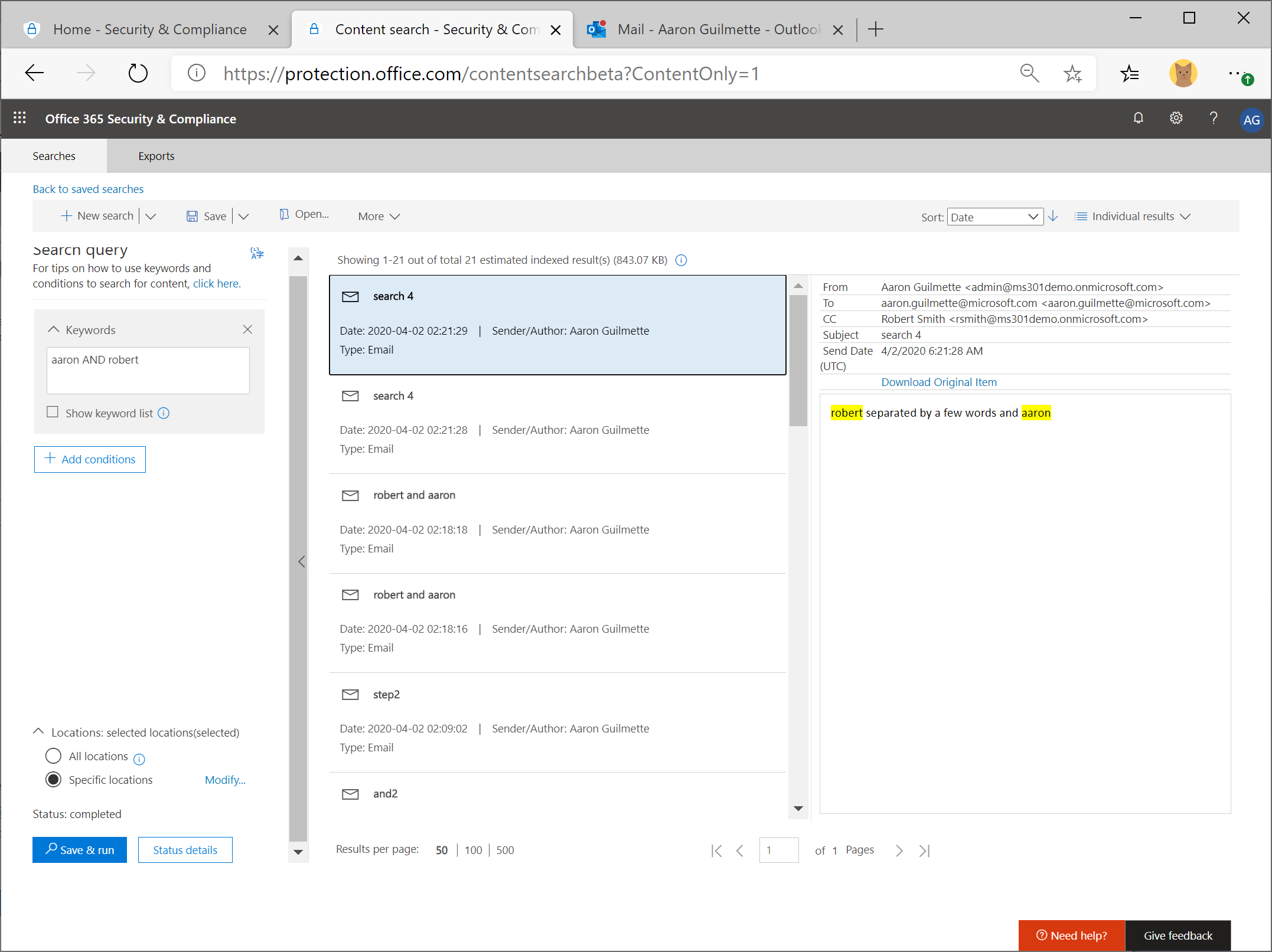 Office 365 Security & Compliance Center eDiscovery - Part 3: Phrases and Grouping AND OR'ing (Oh, my!)