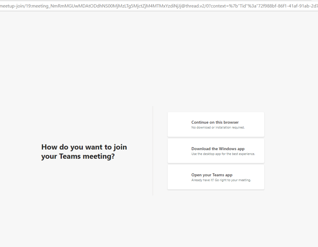 Create Teams meeting invite to allow recipients to join via web automatically