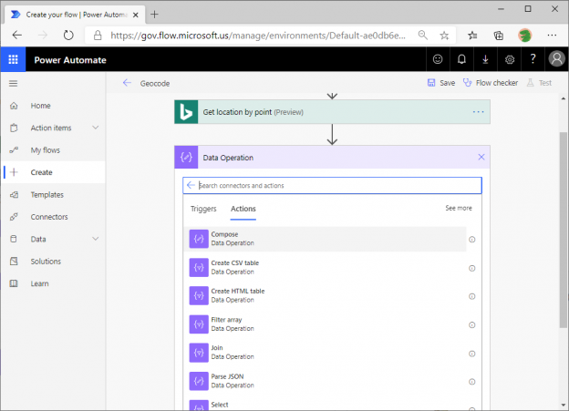 Using the Bing Maps Actions in Power Automate