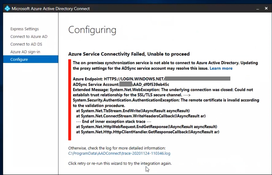 AAD Connect Error: Azure Service Connectivity Failed (subtitled: Verify, then trust)