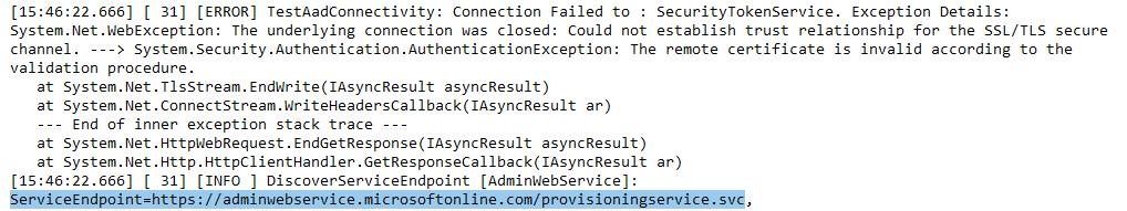 AAD Connect Error: Azure Service Connectivity Failed (subtitled: Verify, then trust)