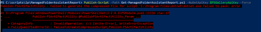Resolving Publish-PSArtifactUtility : Failed to generate the compressed file for script 'C:\Program Files\dotnet\dotnet.exe failed to pack: error