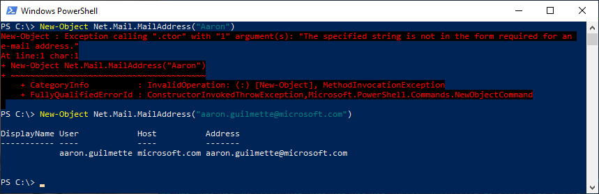 Easy PowerShell Email Address Validation Function
