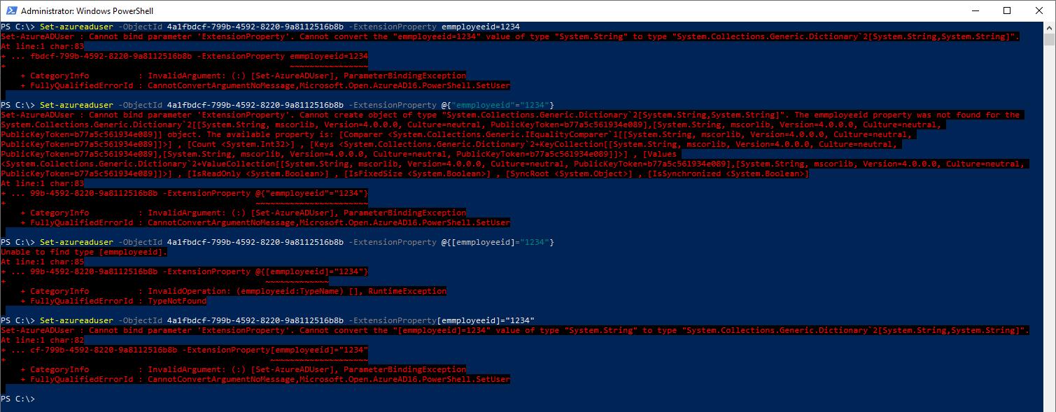 """Configuring """"employeeId"""" with Set-AzureADUser"""