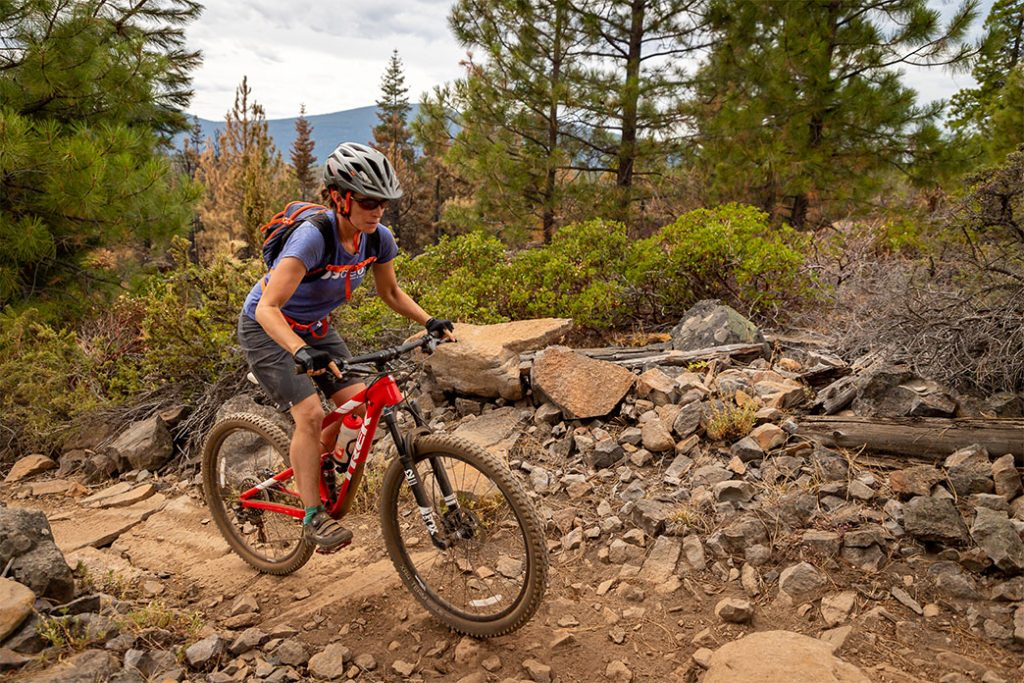Female cyclist on the Spence Mountain Trail in Klamath County