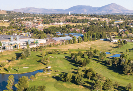 Ariel shot of Harbor Links Golf Course showing greenways and waterways located in Klamath Falls Oregon.