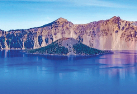 Wizard Island in the middle of Crater Lake.