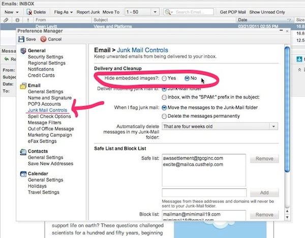 Excite Mail has a two step process, click on Junk mail controls, then
