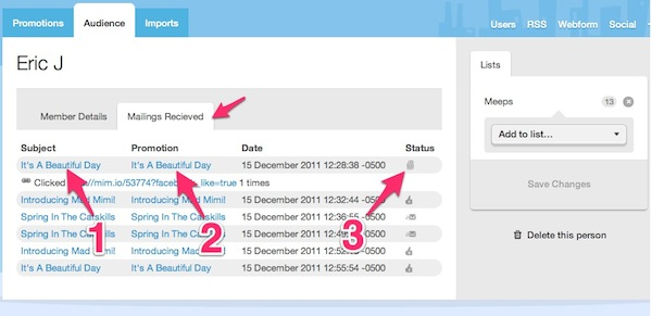 view contact mailing history by clicking on these options