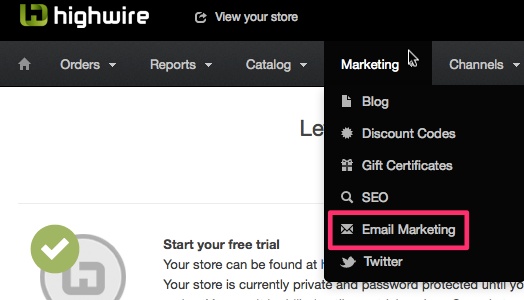 Highwire ecommerce email marketing menu