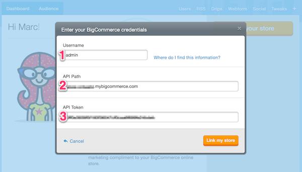 Add Bigcommerce API details here