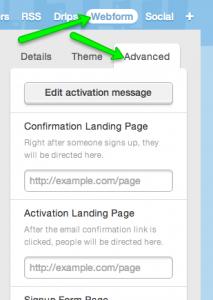 web form landing pages