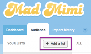 add a list button in the audience