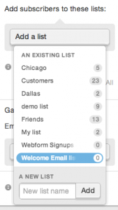 """selecting the """"Welcome Email list"""" from the Add a list dropdown on the web form editing page"""