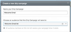 """naming a drip campaign """"Welcome Email"""" and connecting it to the list """"Welcome Email list"""""""