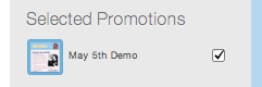 selected promotions in sidebar on Mad mimi dashboard