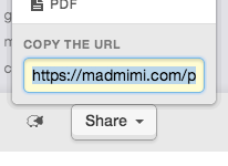 copying the permanent madmimi.com URL for use as a landing page for the reconfirmation email