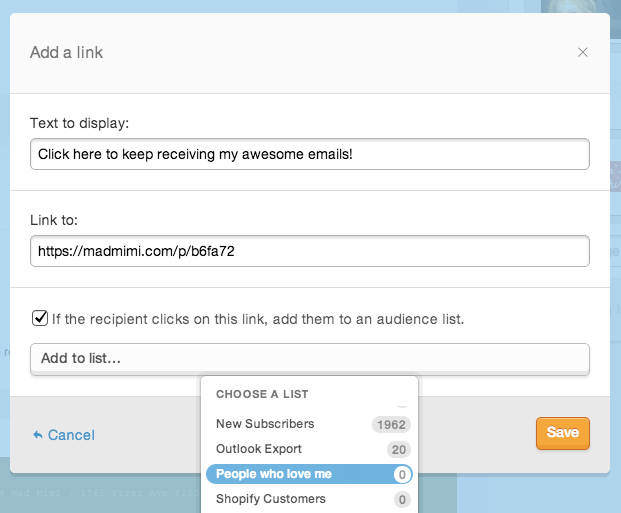 once the Mad Mimi link to list feature is enabled you can choose which list to add people who click to