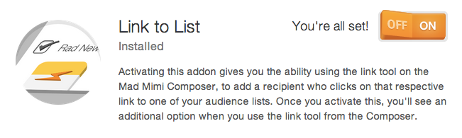 "adding the Mad Mimi link to list feature from ""Add things"" menu"