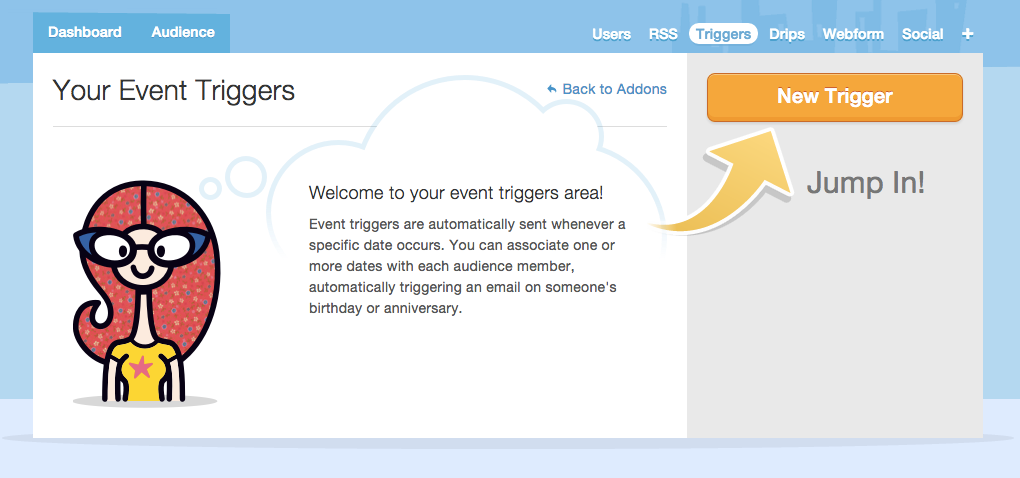 """getting started with Mad Mimi triggers -- click """"New Trigger"""" button to create your first trigger"""