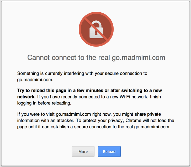 example warning message for Mad Mimi email redirect link with expired SSL certificate