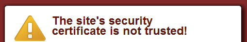 example warning message for Mad Mimi with expired SSL certificate