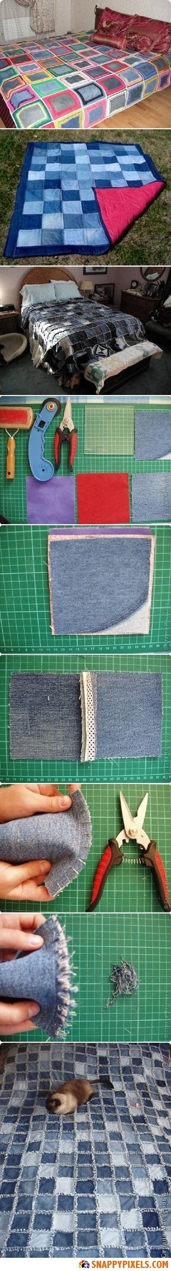 DIY Make a Denim Blanket Instructions