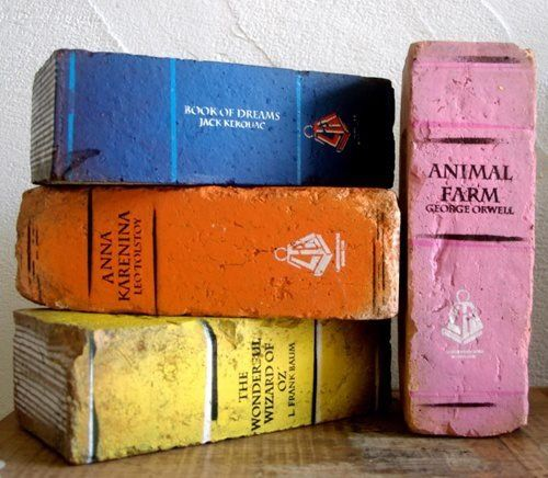 diy painted brick bookends
