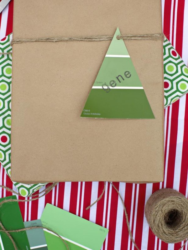 paint chip gift wrapping idea