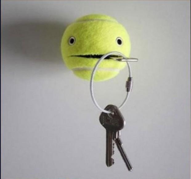 6.-nice-idea-make-key-holder-from-tennis-ball