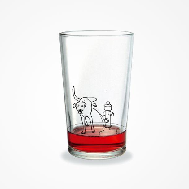 dog peeing artwork on glass