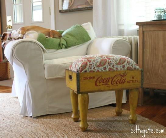 wood soda crate footstool