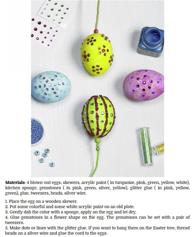 decorate Easter eggs with gemstones and glitter