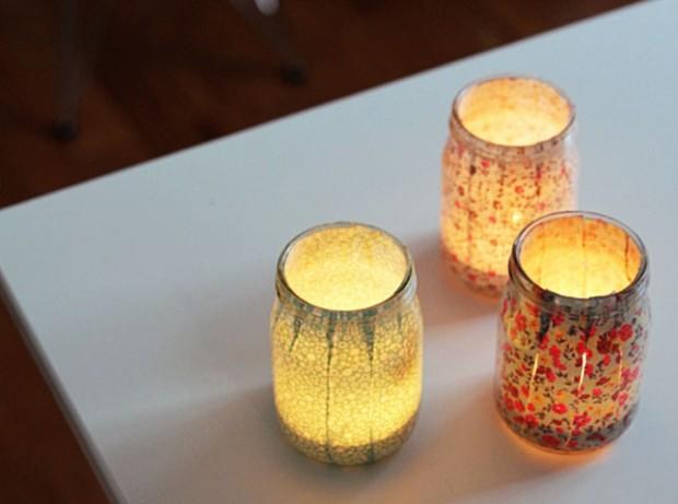 Fabric Trim Votives in mason jars