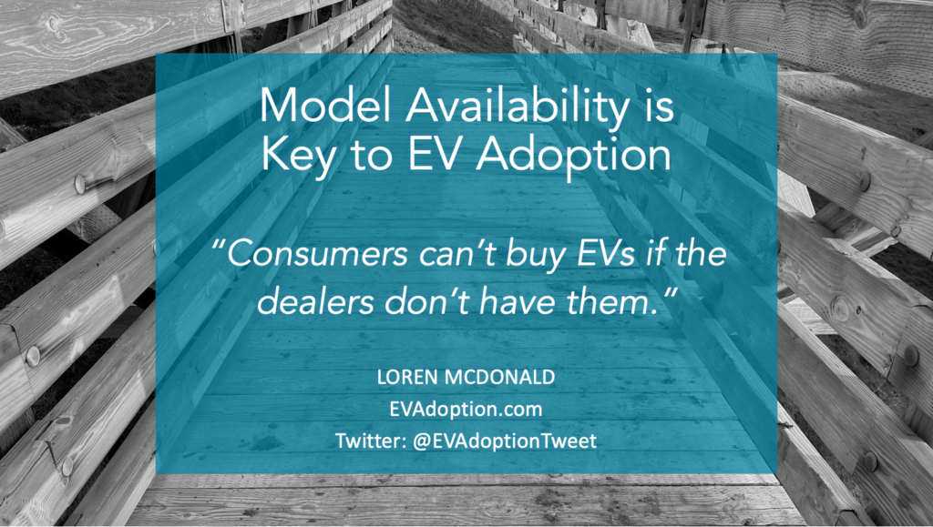 This FREE download is based on a webinar presentation in September 2020 about the role and importance of the availability of electric vehicles to actual sales and adoption in the US.