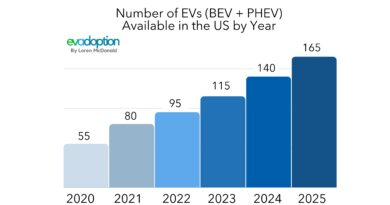 Number of EVs by Year chart-2020-2025
