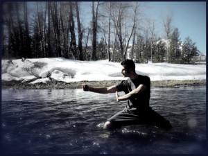martial artist in river