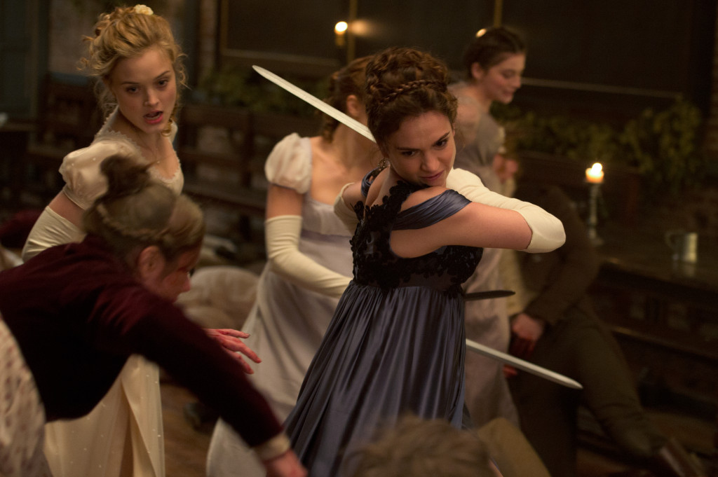 Lily James (center) and Bella Heathcote (left) in Pride and Prejudice and Zombies.  Source:  SONY PICTURES ENTERTAINMENT