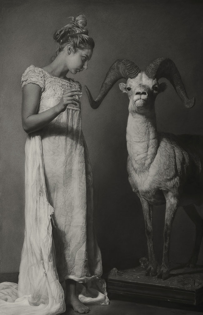 """Charcoal Drawing by Annie Murphy-Robinson. """"Emily and the Ram (conjuring)"""" [Sanded Charcoal on Paper, 65"""" x 42""""]"""