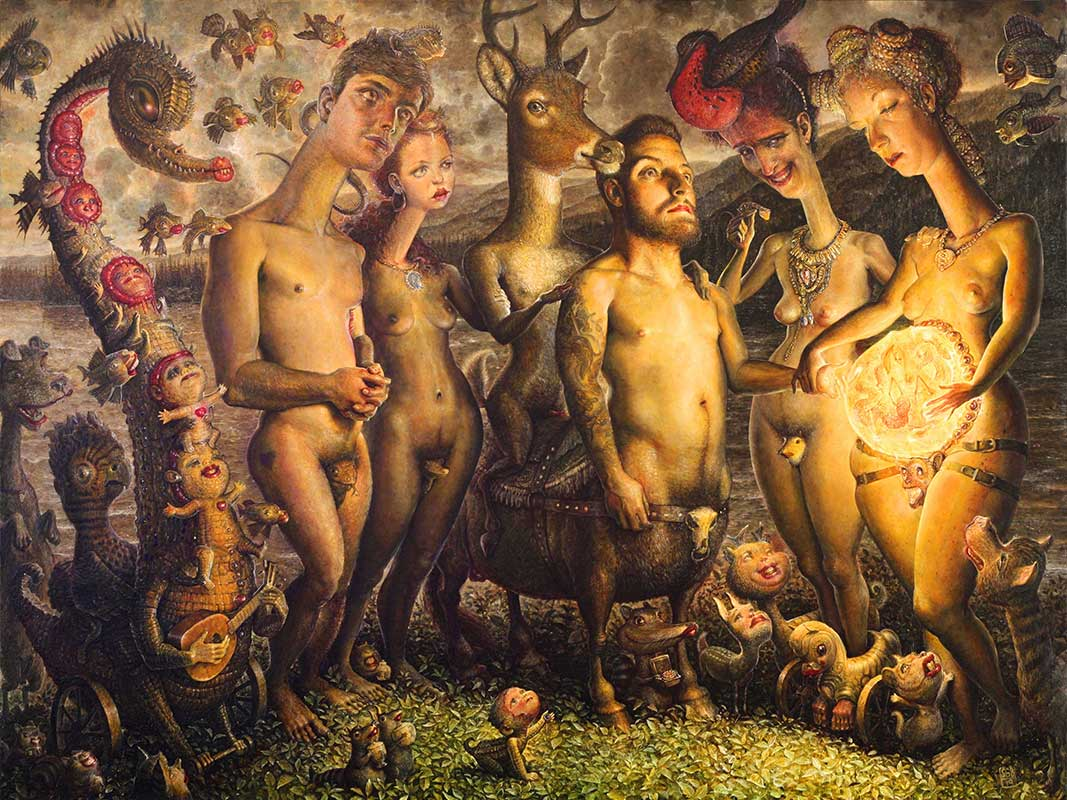 """Oil painting by Scott G Brooks. """"The Lizard People Arrive in the New World"""" [Oil on Canvas, 36"""" x 47""""]"""