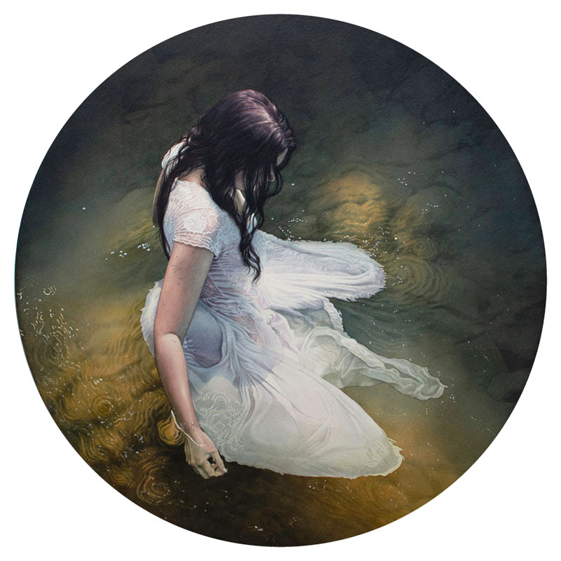 """Watercolour painting by Reuben Negron. """"Ophelia"""" [Watercolor on paper mounted on aluminum panel, 24"""" x 24""""]"""