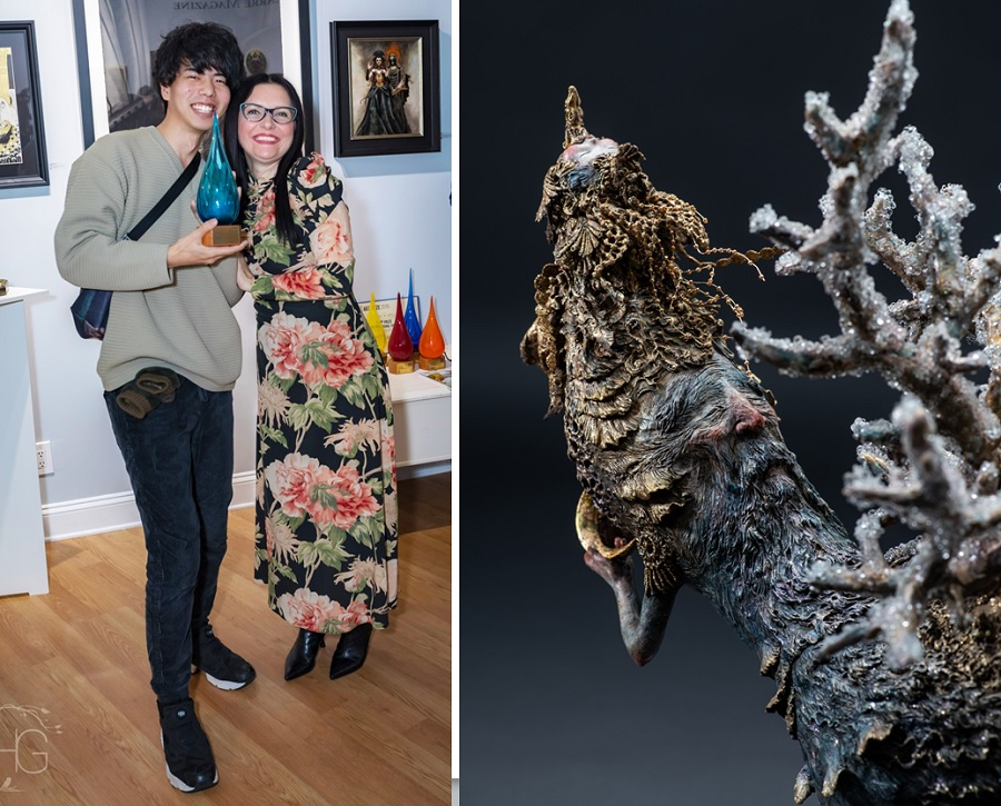 Beautiful Bizarre Art Prize, Akishi Ueda,1st Prize Winner of the Sculpture Award receiving his Award of the Beautiful Bizarre Art Prize