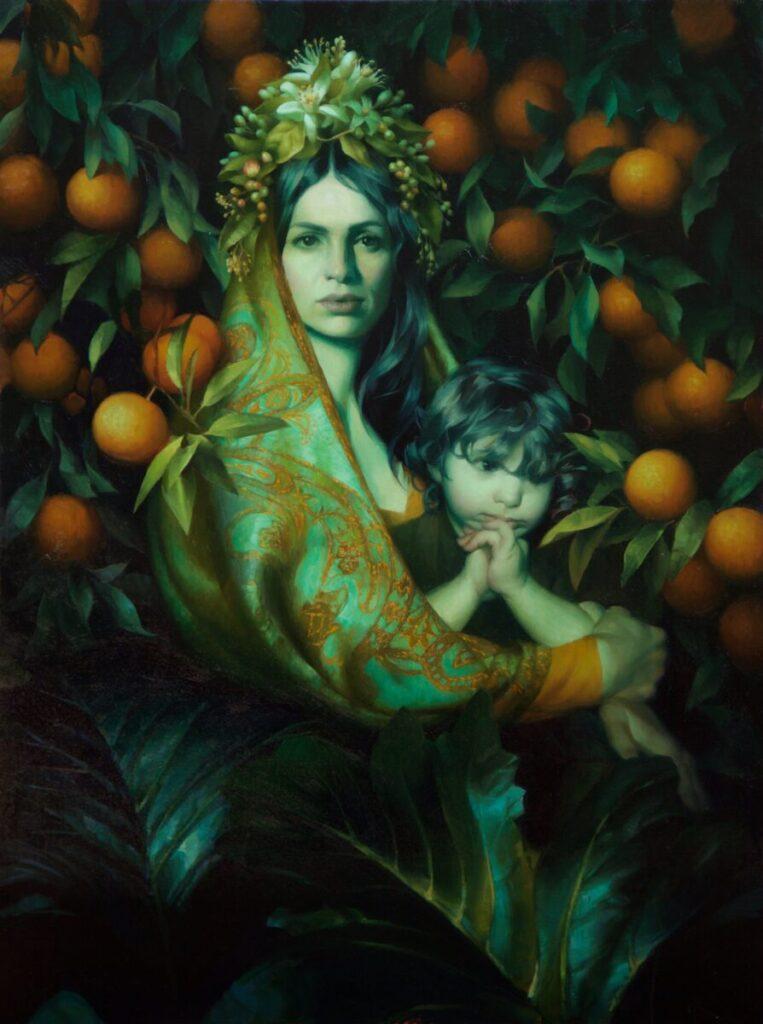Adrienne Stein-Orange Blossom Madonna-painting