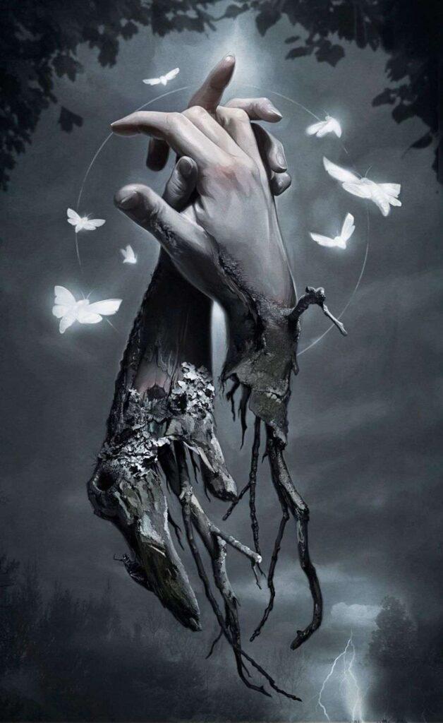 David Seidman - Holding Hands - moths - digital painting